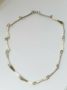 "Unique Vintage 17.5"" Sterling Silver Links Panel Necklace 15.7g Sheffield 1979"
