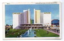 Chicago World's Fair Chrysler Motos Building Century Of Progress Postcard 1933