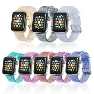 Glitter Bling Soft Watch Band Strap for Apple Watch iWatch SE 40mm 44mm