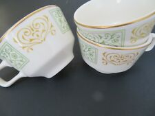 "3 Homer Laughlin Best China Green and Gold Cups Mugs 2.5"" H x 3.75"" C USA 1981"