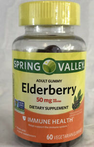 NEW SPRING VALLEY ELDERBERRY 50MG ADULT IMMUNE HEALTH 60 GUMMIES BB 08/21