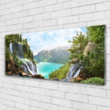 Tableau murale Impression sous verre 125x50 Nature Cascade Lac Forêt