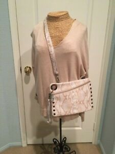 HAMMITT LARGE  BEIGE/WHITE REPTILE CROSSBODY/CLUTCH LEATHER BAG
