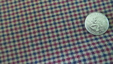 Vintage Cotton Scrappy Plaid Fabric NAVY BLUE,DK RED,BROWN 1 Yd/44""