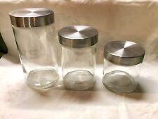 Lot 3 Glass Canister Jar Set Stainlesa Steel Screw On
