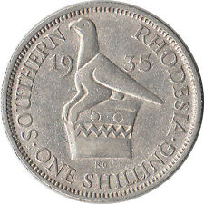 1935 Southern Rhodesia (British) 1 Shilling Silver Coin KM#3 Mintage 830,000