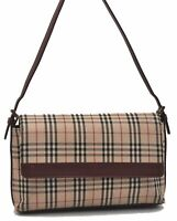 Authentic Burberry Nova Check Shoulder Hand Bag Canvas Leather Beige Red B6905