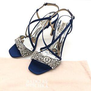 Women's Badgley Mischka Elana Ornamented Heeled Sandal Navy Satin Shoes Size 8