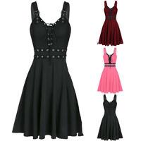 Gothic Punk Plus Size Camisole Hem Mini Dress Bandage Women Sleeveless