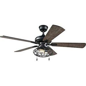 Home Decorators Collection Ellard 52 in. LED Matte Black Indoor Ceiling Fan with