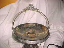 Antique, Victorian Silver Plate Brides Bridal Basket Stemed & Footed Floral  811