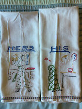 2 Vintage His & Hers Embroidered Hand Towels