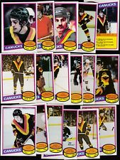 1980 - 81 OPC Team SET lot of 17 Vancouver CANUCKS NM o-pee-chee Tiger SNEPTS