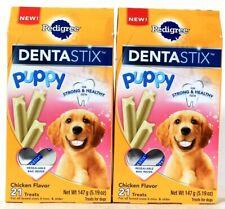 2 Boxes Pedigree 5.19 Oz Dentastix Puppy Chicken Flavor 21 Count Treats BB 8/20