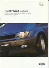 FORD TRANSIT UPDATE-EXECUTIVE,COURIER,SECURITY & AIR PACKS BROCHURE 2003 2004