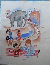 Antique Original Russian 1980 artist Klara Ivanovna Kalinycheva  illustration