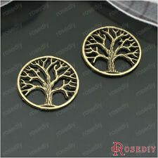 (26739)30PCS 20MM Antique Bronze Zinc Alloy Round tree Charms Jewelry Findings