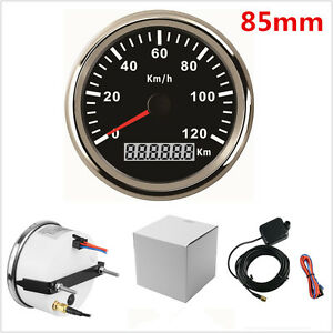 85mm Stainless GPS Speedometer 0-120KM/H Speed Gauge For Car Truck Waterproof