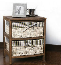 Bali Wood Bedside Storage Cabinet Table Woven Storage Box Drawers Shelf Natural