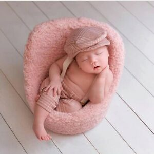 Newborn Photography Props Flat Cap Sets Boy Overalls Suspender Straps for Photo