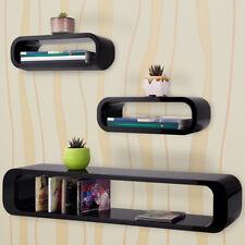 Wall Shelves Retro Lounge Set of 3 Floating Solid Rack Display Storage Unit Orga