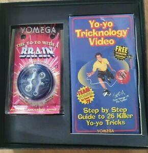 Vintage Yomega Brain Blue Yo-Yo 1995 with VHS Trick video Unused
