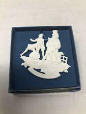 Wedgwood White Jasperware Victorian Snowman Christmas Ornament Mint w/ Box