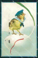 WW1 WWI Propaganda Happy Easter Chick Egg Marina cartolina postcard XF8114