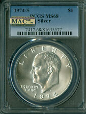 1974 S EISENHOWER SILVER DOLLAR PCGS MS68 PQ 2nd FINEST MAC SPOTLESS *