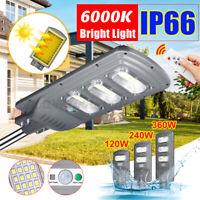 120W-360W LED Lampione Stradale Faro Faretto Pannello Solare Sensore Telecomando