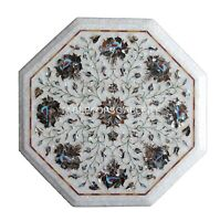 """13"""" White Marble Coffee Table Top Mosaic Marquetry Floral Inlay Home Decors W155"""