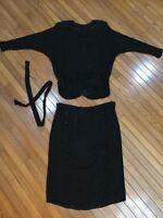 Vtg Judith Ann Creations Black Silk Beaded Outfit Blouse Skirt Belt Size L