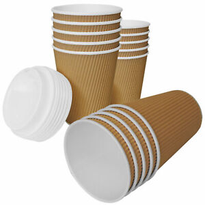 Ripple Coffee Cups Paper Kraft Cups With Lids For Hot And Cold Drink Vending