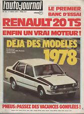 L'AUTO JOURNAL 1977 13 RENAULT 20 TS SKODA 120 L GP SUEDE AUBURN 851 SPEEDSTER