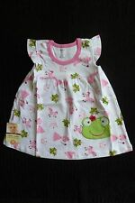 Baby clothes GIRL 9-12m NEW! fun fairy/frog white,pink,green short sleeve dress