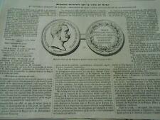 Gravure 1850 - Médaille décernée par la ville de Rome Génral Oudinot