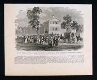 Leslie Civil War Print - Atlanta Citizens Recieving Departure Passes - Sherman