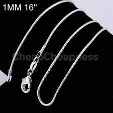 Wonderful Cool 1mm Silver Plated SNAKE Chain Necklace Copper