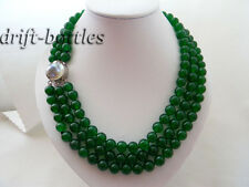 3Strands 19'' 10mm Green Round Jade Mabe Clasp Necklace