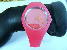 GENEVA HOT PINK ROSE  SILICONE RUBBER STRAP BAND WATCH RAISED DOME RED  HANDS