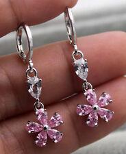18K White Gold Filled - 1.3'' Flower Clover Pink Gems Wedding Dangle Earrings
