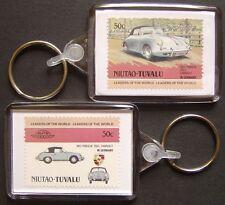 1963 PORSCHE 356 / 356C Cabriolet Car Stamp Keyring (Auto 100 Automobile)