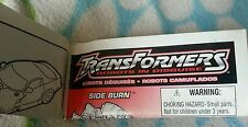 Transformers RID SIDEBURN INSTRUCTION BOOKLET ONLY