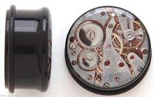 PAIR-Steampunk Gear Acrylic Single Flare Plugs 10mm/00 Gauge Body Jewelry
