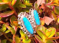 Vintage Jewelry Earrings Sterling Silver Blue Turquoise Screw Back Estate