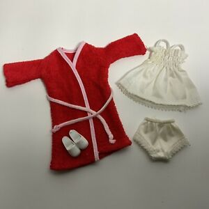 Vintage 1970's Pedigree Sindy Doll Clothes - Cosy Wrap Nighty Pants Gown Shoes