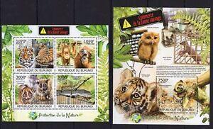 Burundi 2012 MNH MS+SS, Birds. Owl, Tiger, Monkey, Reptiles, Protect Nature