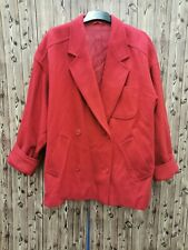 Marella Max Mara Ladies Coat Oversized Double Breasted Red Wool Blend Size 14