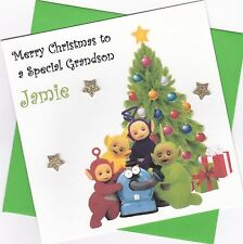 Personalised Handmade Teletubbies Christmas Card - Daughter, Son, Grandson etc