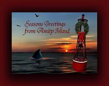 New for 2017 - JAWS Christmas Card by Artist Tom Ryan - Amity Island Shark Art